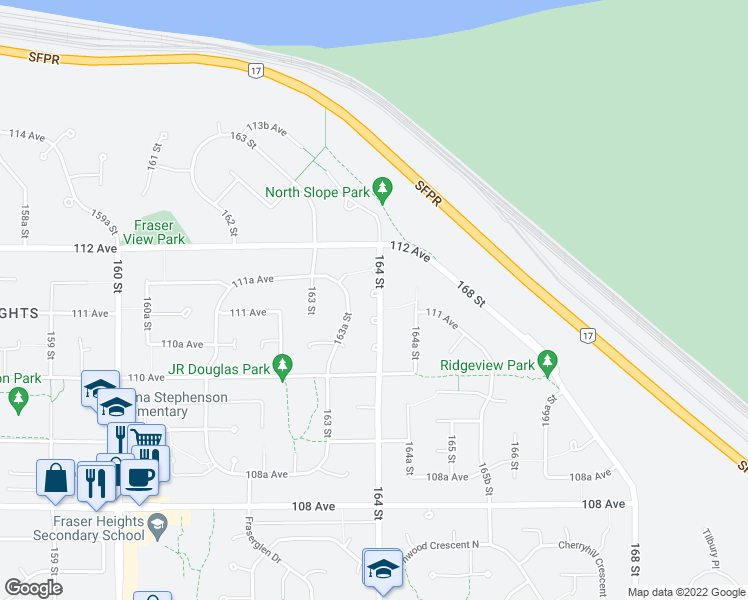 map of restaurants, bars, coffee shops, grocery stores, and more near 11111 164 Street in Surrey