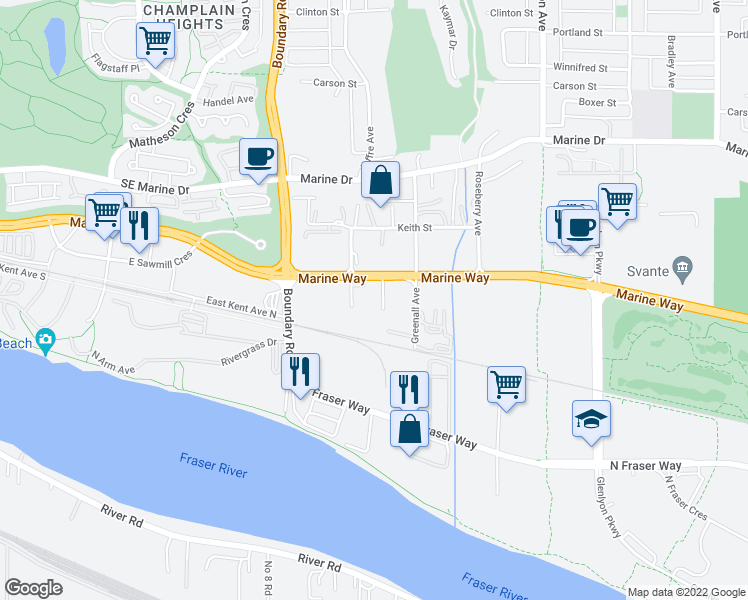 map of restaurants, bars, coffee shops, grocery stores, and more near 8747 Ivy Avenue in Burnaby