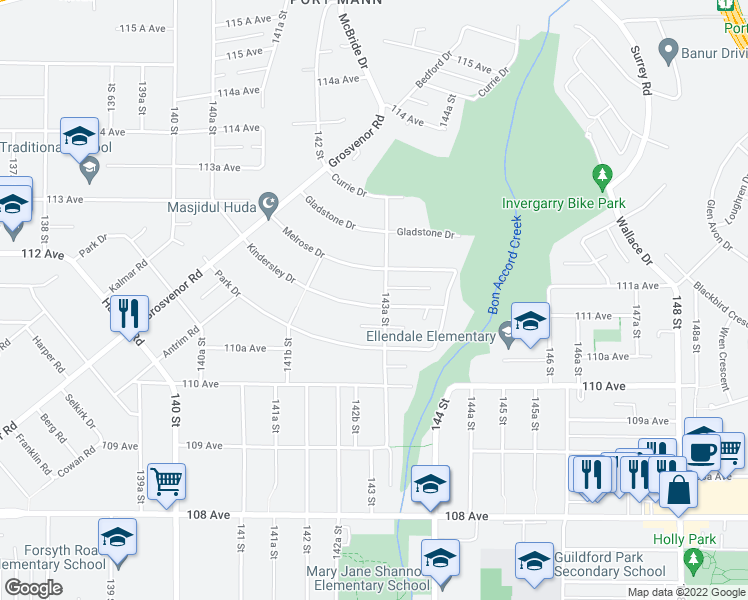 map of restaurants, bars, coffee shops, grocery stores, and more near 14311 Kindersley Drive in Surrey