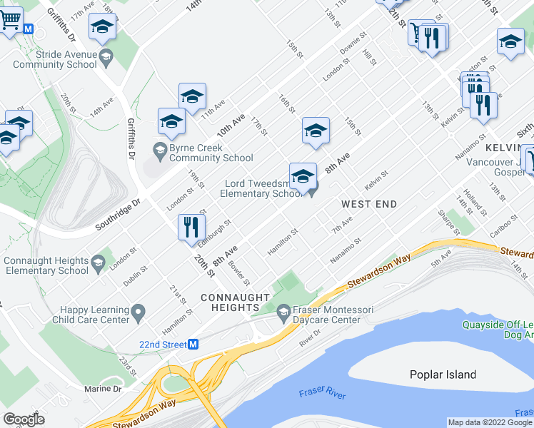 map of restaurants, bars, coffee shops, grocery stores, and more near 1805 Eighth Avenue in New Westminster