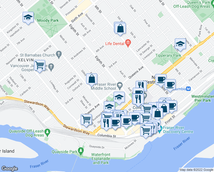 map of restaurants, bars, coffee shops, grocery stores, and more near 819 Milton Street in New Westminster