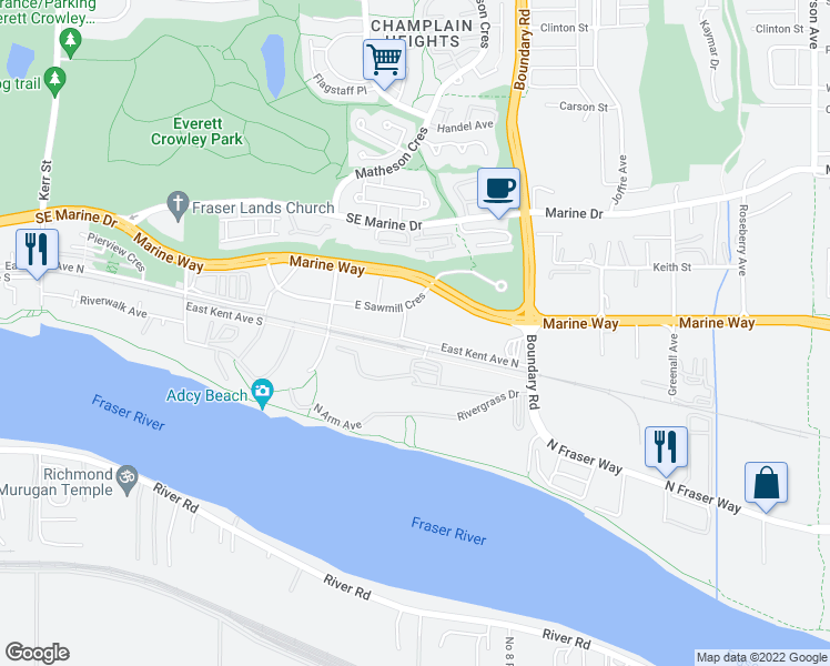 map of restaurants, bars, coffee shops, grocery stores, and more near 8570 Rivergrass Drive in Vancouver