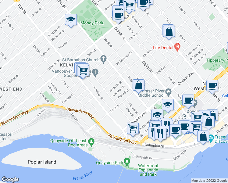 map of restaurants, bars, coffee shops, grocery stores, and more near 1031 Cornwall Street in New Westminster