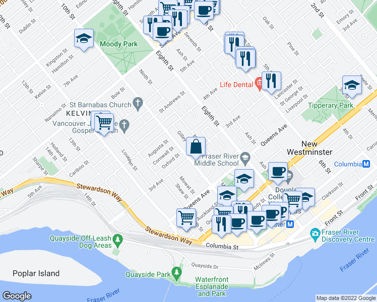 map of restaurants, bars, coffee shops, grocery stores, and more near 305 10th Street in New Westminster