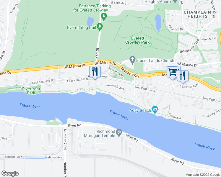 map of restaurants, bars, coffee shops, grocery stores, and more near 3168 Riverwalk Avenue in Vancouver