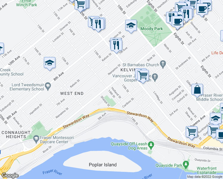 map of restaurants, bars, coffee shops, grocery stores, and more near 531 14th Street in New Westminster