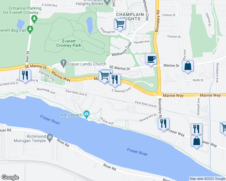 map of restaurants, bars, coffee shops, grocery stores, and more near 3530 Sawmill Crescent in Vancouver