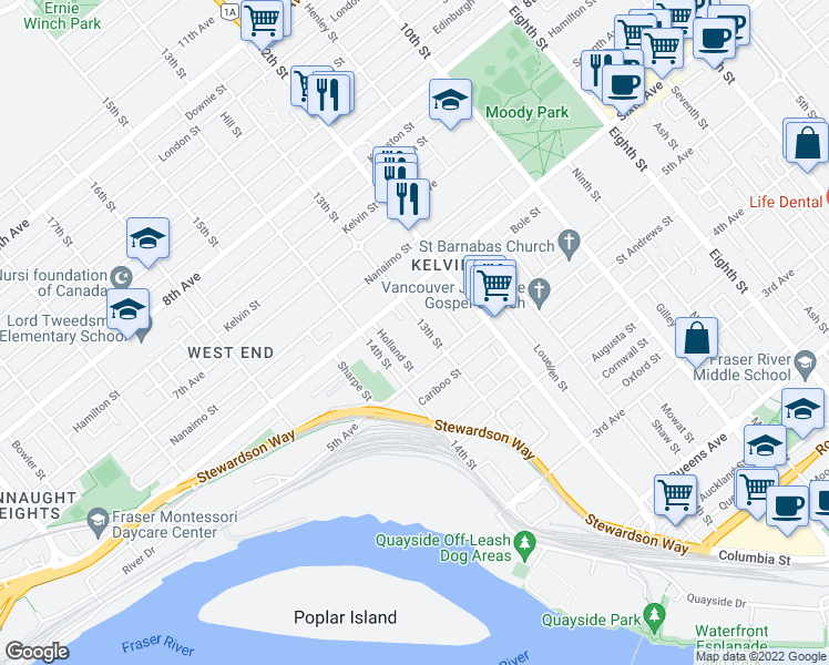 map of restaurants, bars, coffee shops, grocery stores, and more near 518 13th Street in New Westminster