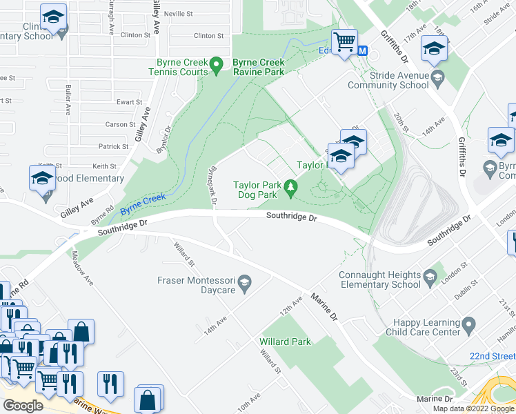 map of restaurants, bars, coffee shops, grocery stores, and more near Southridge Urban Trail in Burnaby