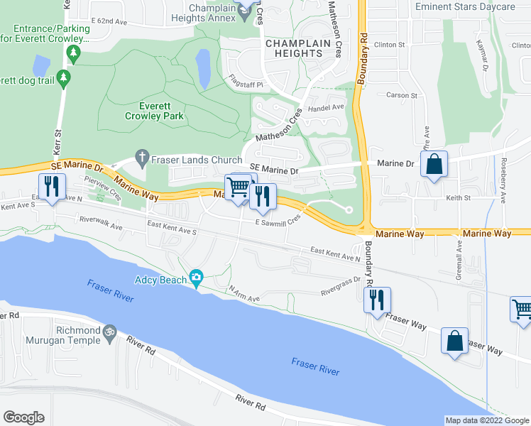 map of restaurants, bars, coffee shops, grocery stores, and more near 3557 Sawmill Crescent in Vancouver