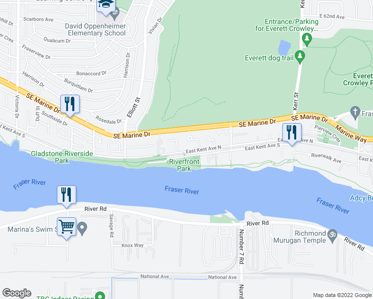 map of restaurants, bars, coffee shops, grocery stores, and more near 25 East Kent Avenue North in Vancouver