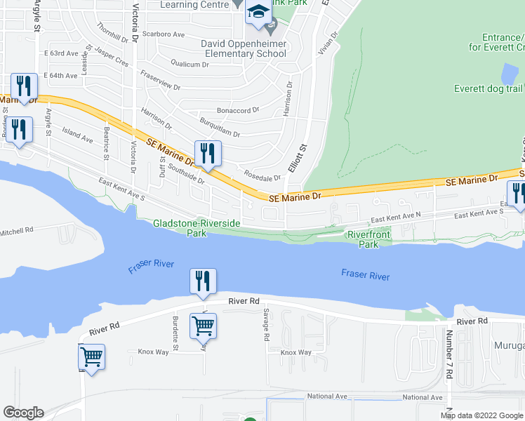 map of restaurants, bars, coffee shops, grocery stores, and more near 2341 Quayside Court in Vancouver
