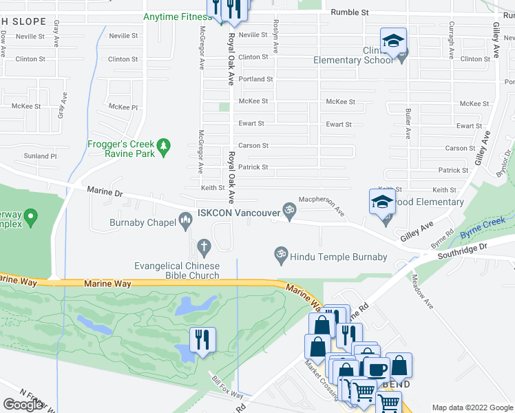 map of restaurants, bars, coffee shops, grocery stores, and more near 5293 Marine Drive in Burnaby