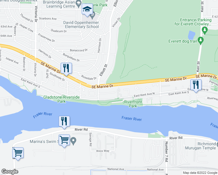 map of restaurants, bars, coffee shops, grocery stores, and more near 2550 Southeast Marine Drive in Vancouver