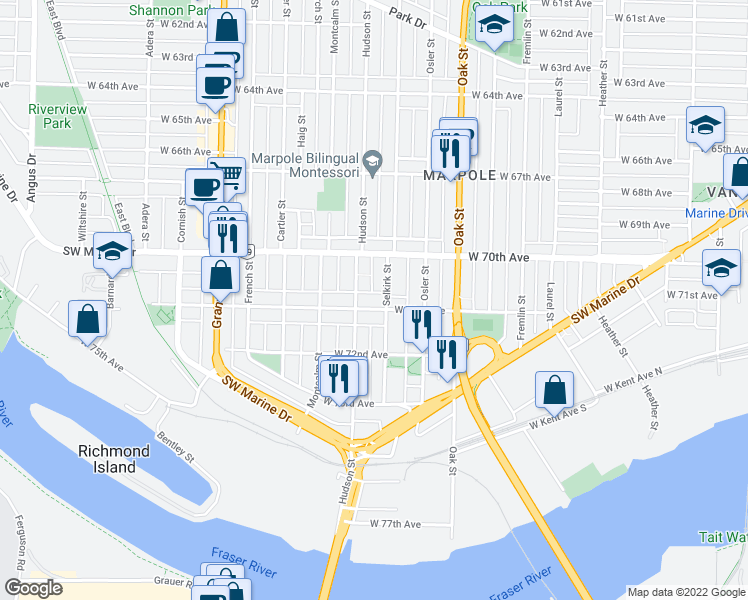 map of restaurants, bars, coffee shops, grocery stores, and more near 1251 West 71st Avenue in Vancouver