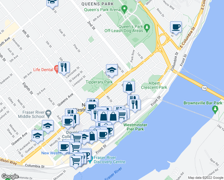 map of restaurants, bars, coffee shops, grocery stores, and more near 320 Royal Avenue in New Westminster