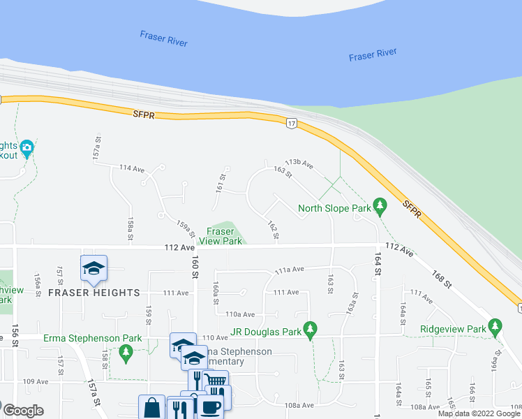 map of restaurants, bars, coffee shops, grocery stores, and more near 11316 162 Street in Surrey