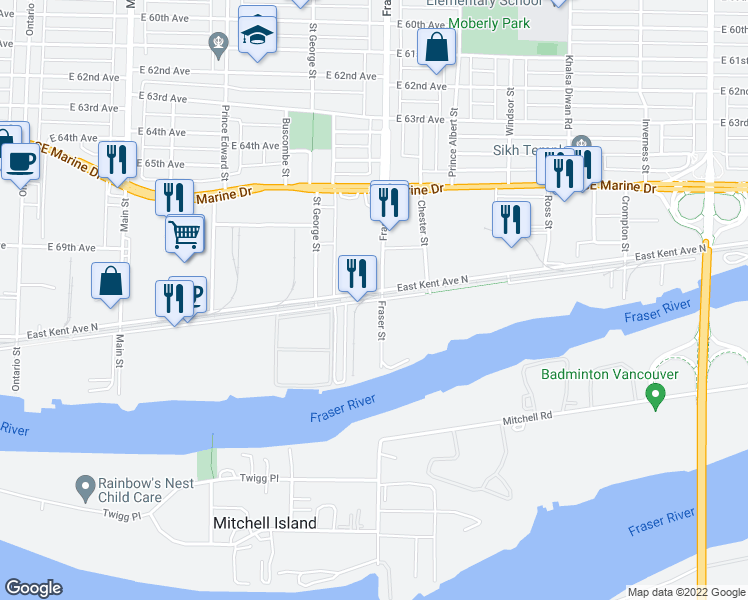 map of restaurants, bars, coffee shops, grocery stores, and more near 702 East Kent Avenue South in Vancouver