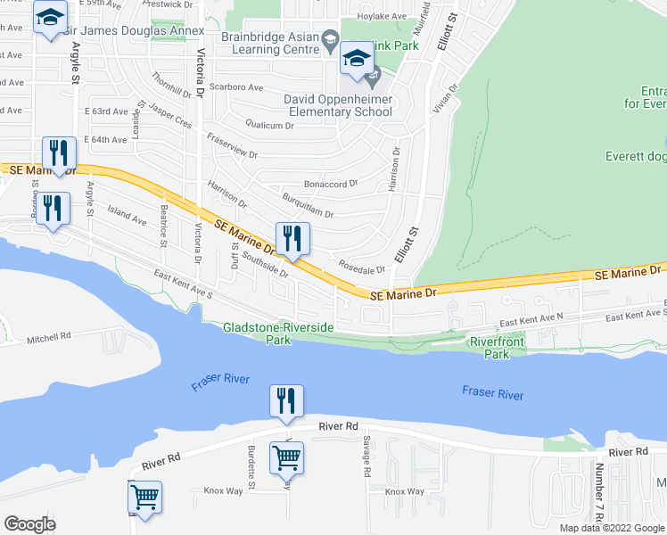 map of restaurants, bars, coffee shops, grocery stores, and more near 2302 Rosedale Drive in Vancouver
