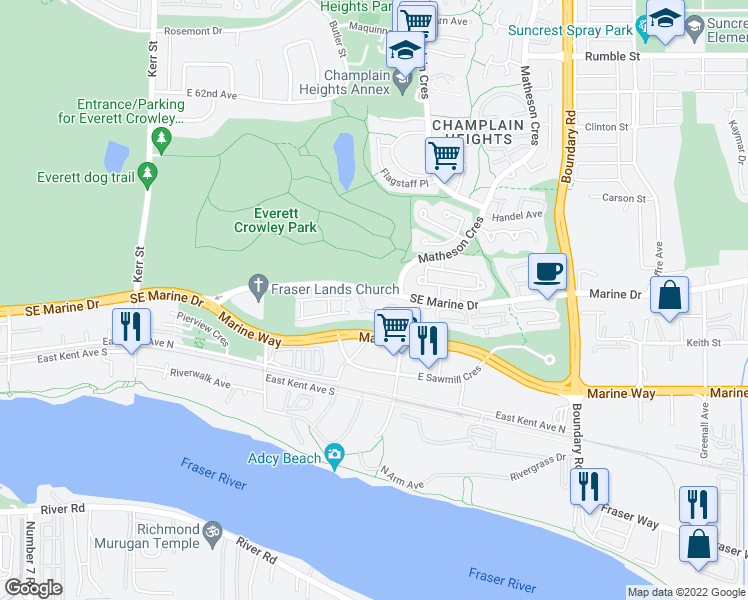 map of restaurants, bars, coffee shops, grocery stores, and more near 3400 Southeast Marine Drive in Vancouver
