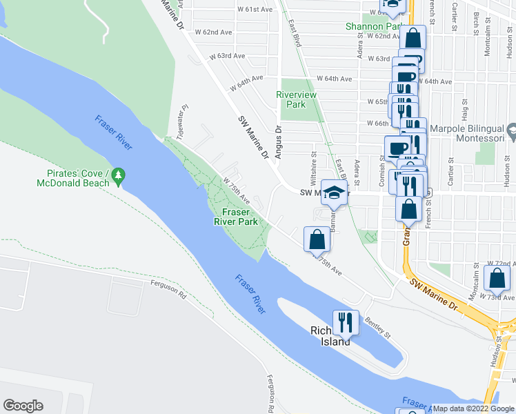 map of restaurants, bars, coffee shops, grocery stores, and more near 8565 Captains Cove in Vancouver