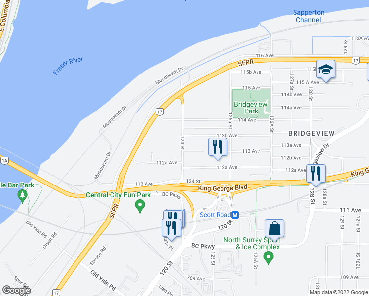 map of restaurants, bars, coffee shops, grocery stores, and more near 11312 124 Street in Surrey