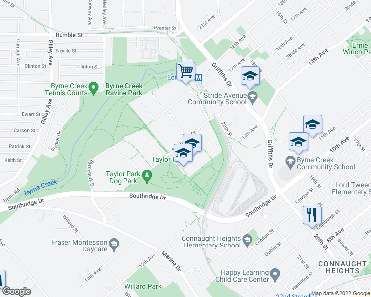 map of restaurants, bars, coffee shops, grocery stores, and more near 6736 Southpoint Drive in Burnaby