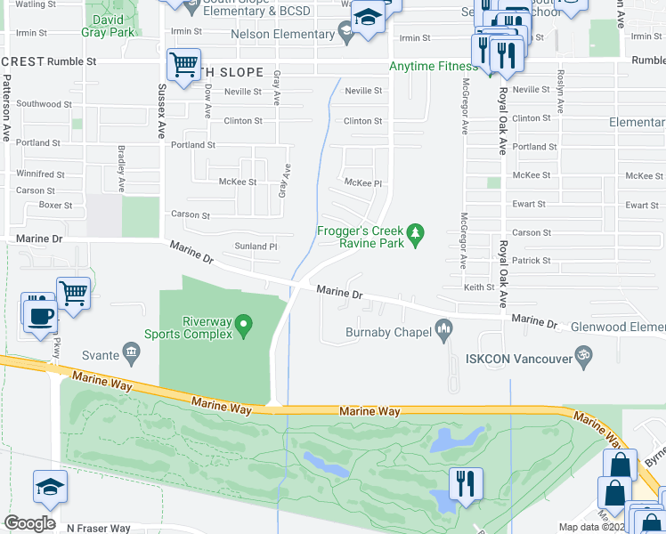 map of restaurants, bars, coffee shops, grocery stores, and more near 8358 Nelson Avenue in Burnaby