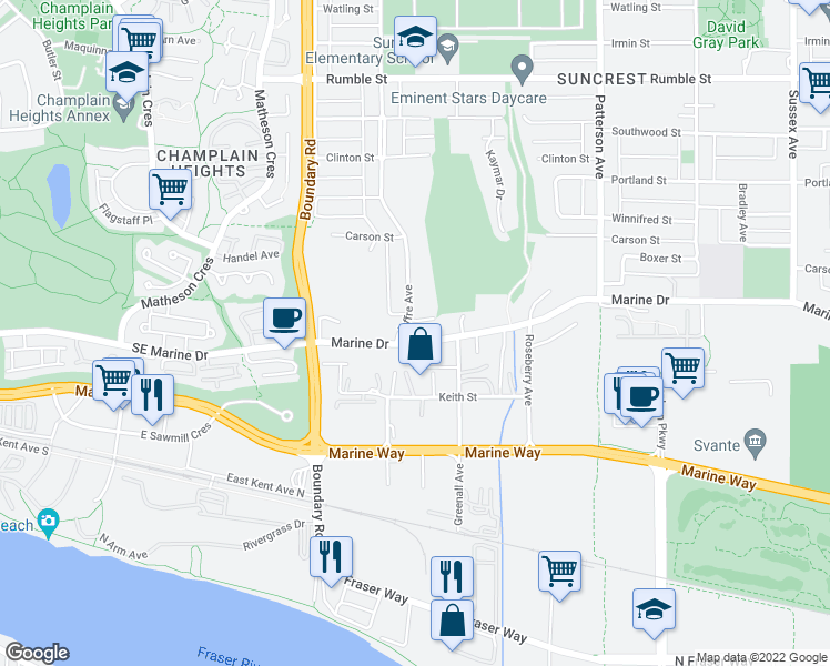 map of restaurants, bars, coffee shops, grocery stores, and more near 3819 Marine Drive in Burnaby