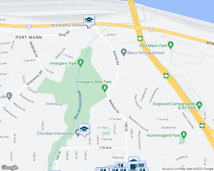 map of restaurants, bars, coffee shops, grocery stores, and more near 11332 Wallace Drive in Surrey