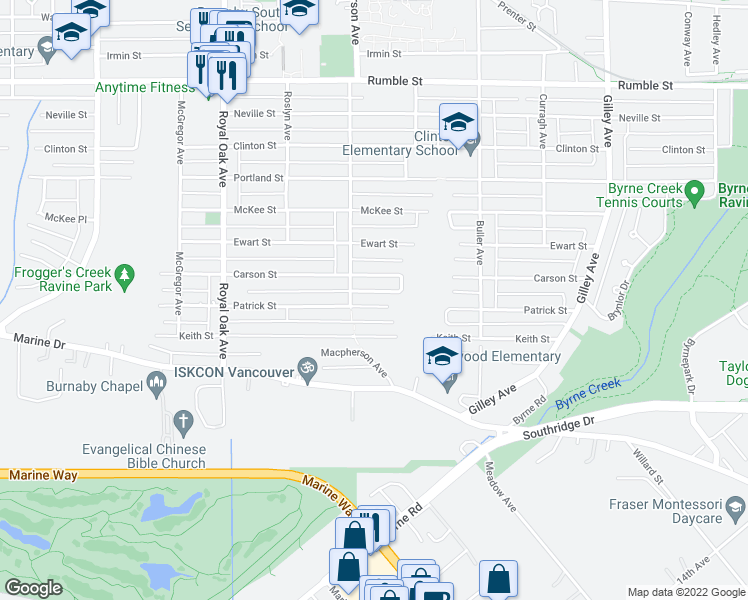 map of restaurants, bars, coffee shops, grocery stores, and more near 5643 Patrick Street in Burnaby