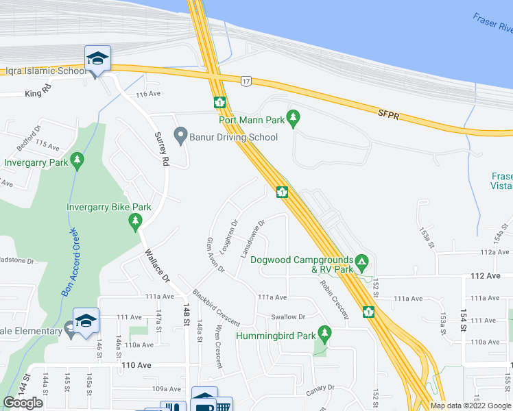 map of restaurants, bars, coffee shops, grocery stores, and more near 11366 Loughren Drive in Surrey