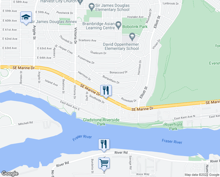 map of restaurants, bars, coffee shops, grocery stores, and more near 2257 Harrison Drive in Vancouver
