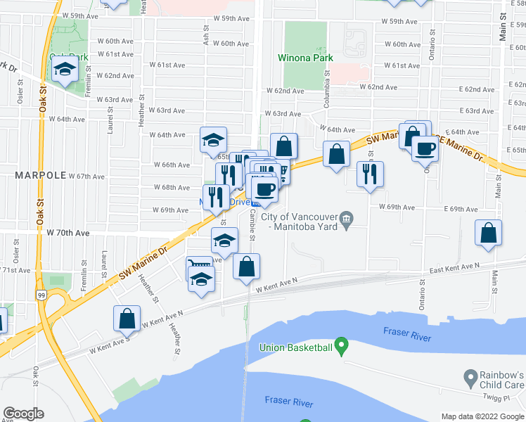 map of restaurants, bars, coffee shops, grocery stores, and more near 487 Interurban Way in Vancouver