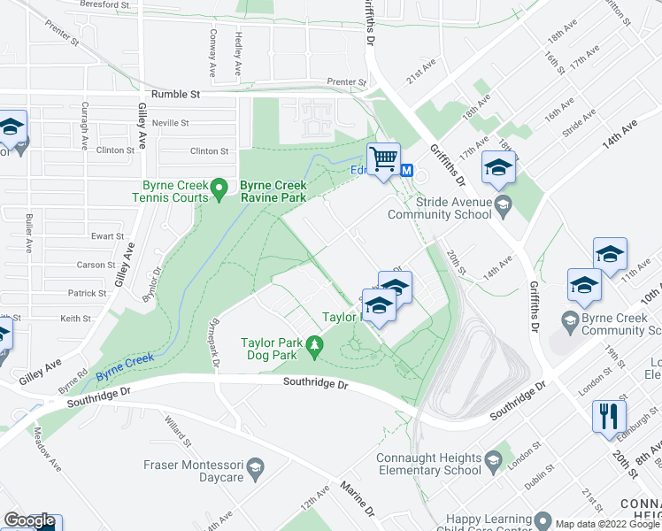 map of restaurants, bars, coffee shops, grocery stores, and more near 6740 Station Hill Court in Burnaby