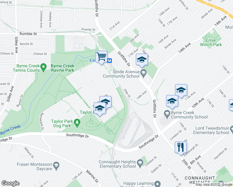 map of restaurants, bars, coffee shops, grocery stores, and more near 6888 Southpoint Drive in Burnaby