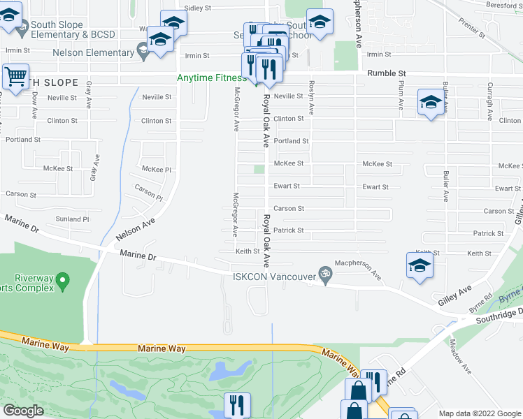 map of restaurants, bars, coffee shops, grocery stores, and more near 8225 Royal Oak Avenue in Burnaby