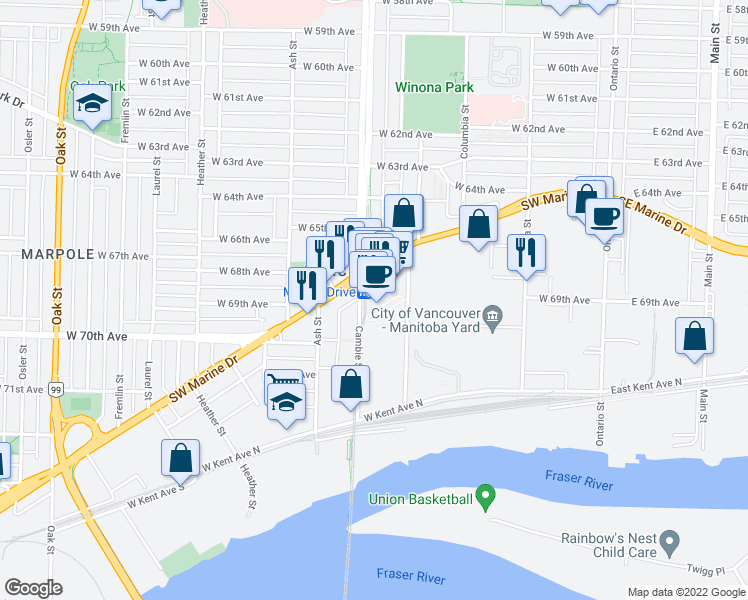 map of restaurants, bars, coffee shops, grocery stores, and more near 489 Interurban Way in Vancouver