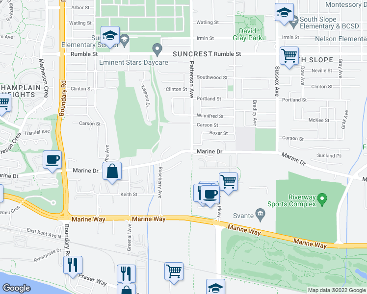 map of restaurants, bars, coffee shops, grocery stores, and more near 4065 Marine Drive in Burnaby