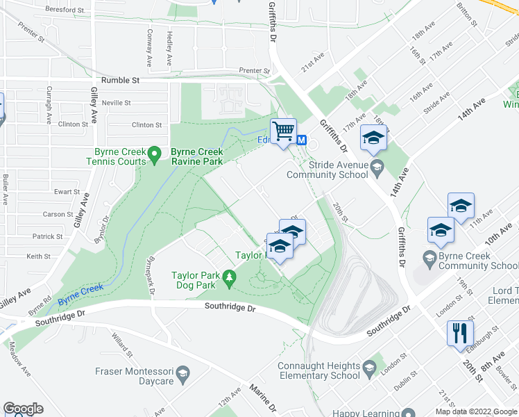 map of restaurants, bars, coffee shops, grocery stores, and more near 7465 Sandborne Avenue in Burnaby