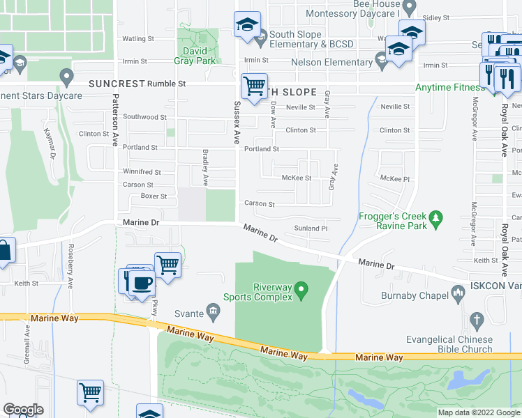 map of restaurants, bars, coffee shops, grocery stores, and more near 4468 Carson Street in Burnaby