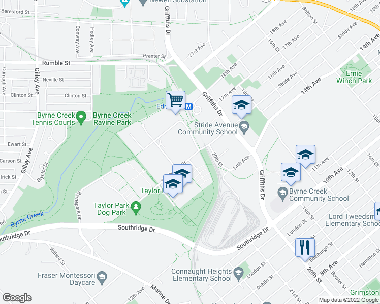 map of restaurants, bars, coffee shops, grocery stores, and more near 6888 Station Hill Drive in Burnaby