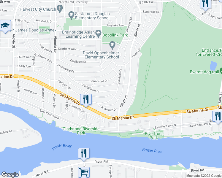 map of restaurants, bars, coffee shops, grocery stores, and more near 2375 Burquitlam Drive in Vancouver