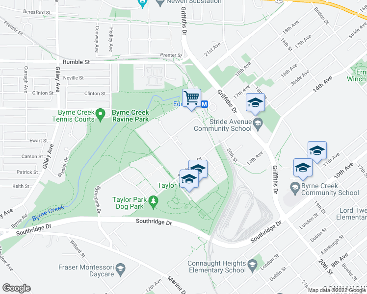 map of restaurants, bars, coffee shops, grocery stores, and more near 7388 Sandborne Avenue in Burnaby