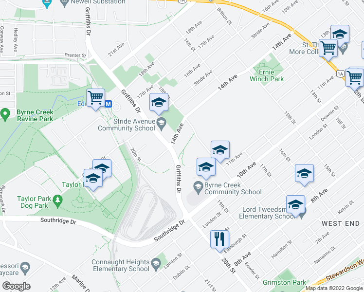map of restaurants, bars, coffee shops, grocery stores, and more near 7058 14th Avenue in Burnaby
