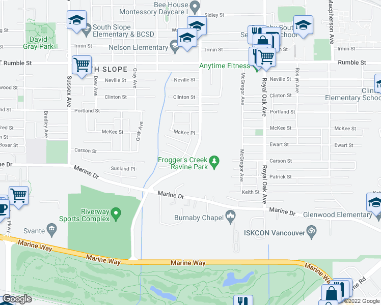 map of restaurants, bars, coffee shops, grocery stores, and more near 4895 Carson Place in Burnaby