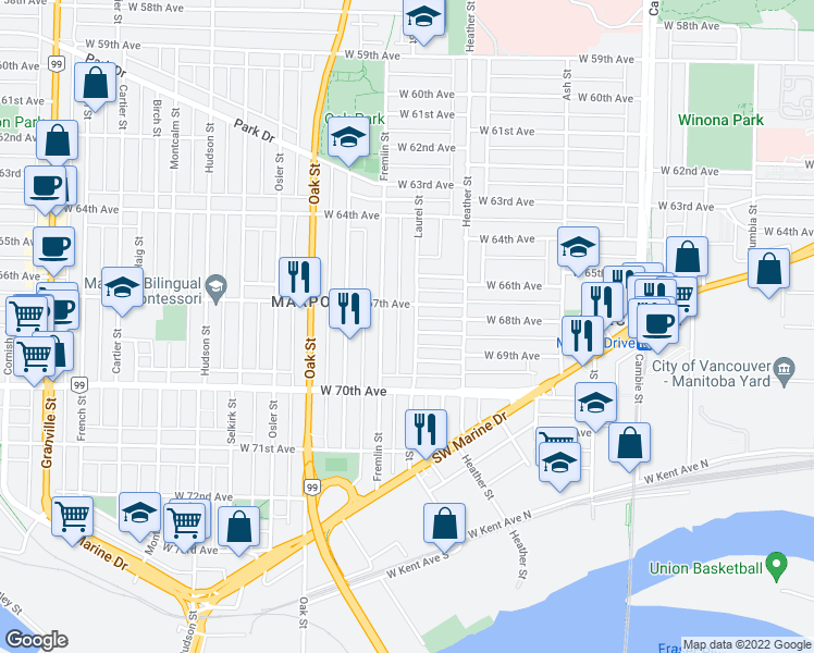map of restaurants, bars, coffee shops, grocery stores, and more near 8373 Laurel Street in Vancouver