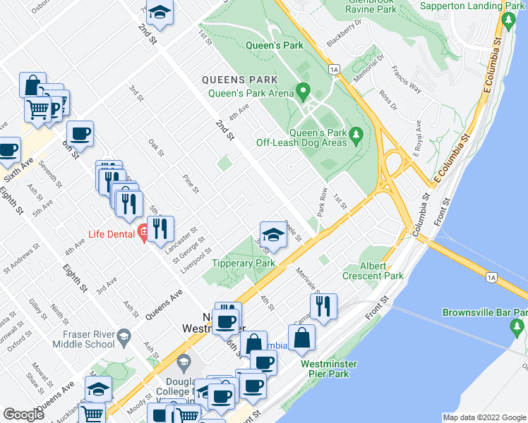 map of restaurants, bars, coffee shops, grocery stores, and more near 217 Queens Avenue in New Westminster