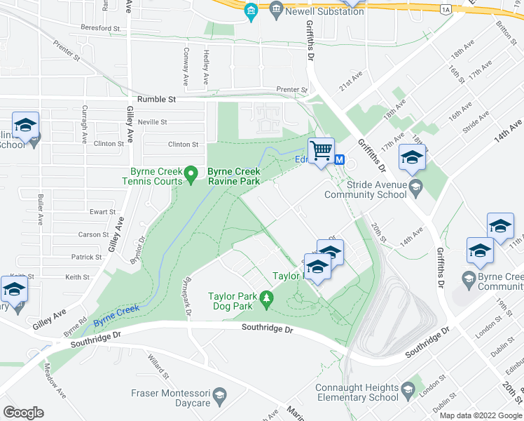 map of restaurants, bars, coffee shops, grocery stores, and more near 6737 Station Hill Court in Burnaby