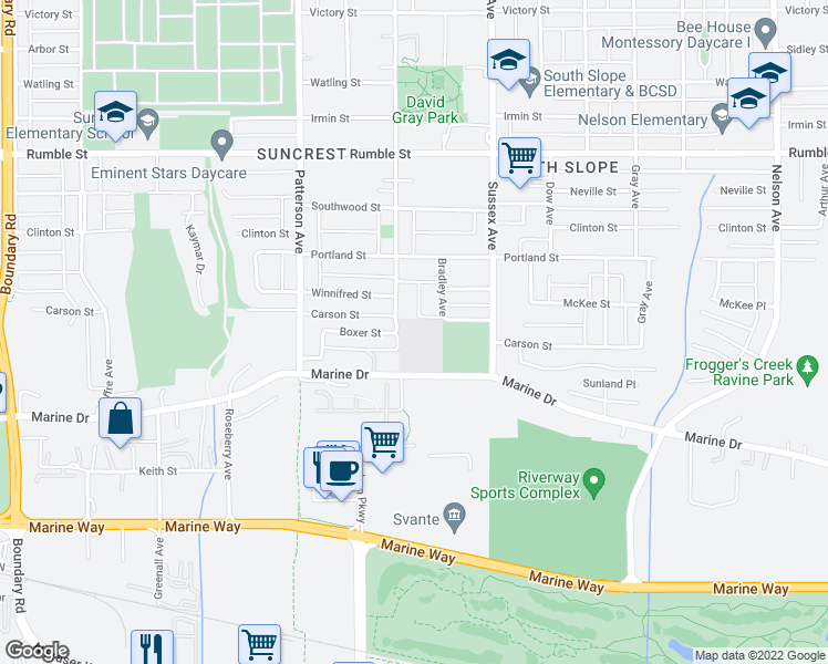 map of restaurants, bars, coffee shops, grocery stores, and more near 4340 Carson Street in Burnaby